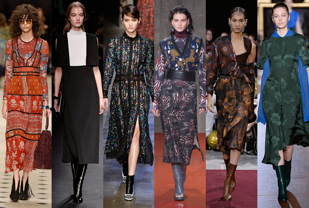 <p>Take your direction from the Fall 15 runways with flowing long-line dresses that deliver effortless winter style. Strong prints and sleeves work best, but the real trick to nailing this shape is in the boots. Leave just a flash of skin between your hem with a mid-length style, or pair with a knee-high version for maximum coverage.</p>