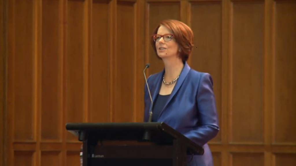 Julia Gillard delivered a lecture titled 'Towards Universal Education'. (Supplied)