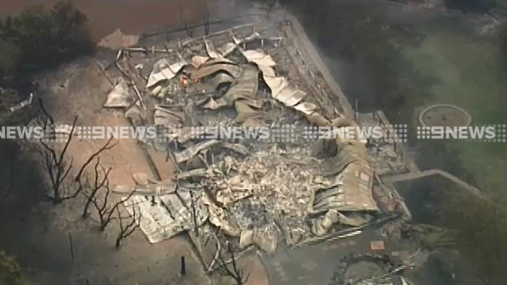 A Cobaw home has been destroyed by the blaze. (9NEWS)