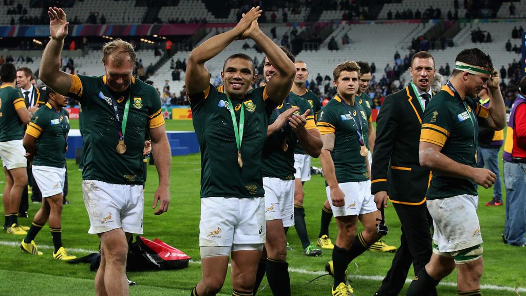 Springboks winger Bryan Habana celebrates the team's third place win. (Getty)