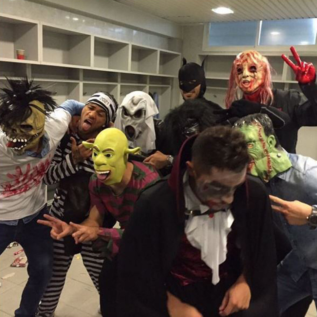 Barcelona defender Gerard Pique posted this photo of his teammates in their Halloween costumes. (Instagram)