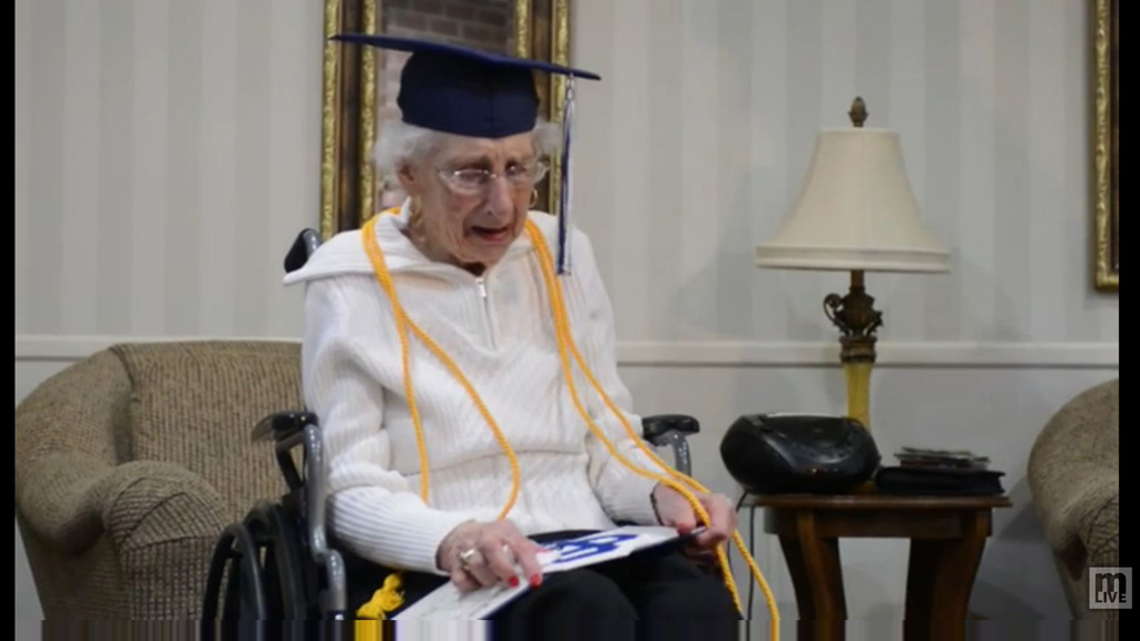 Elderly woman breaks down when presented with honorary high school degree