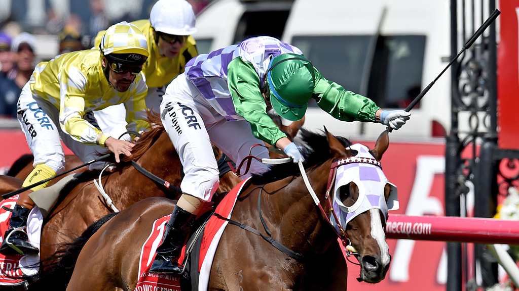 Jockey Michelle Payne riding Prince Of Penzance crosses the finish line to win the $6,000,000 Melbourne Cup race at Flemington Racecourse. (AAP)