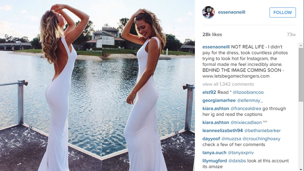 'I didn't pay for the dress, took countless photos trying to look hot for Instagram, the formal made me feel incredibly alone.' (Instagram)