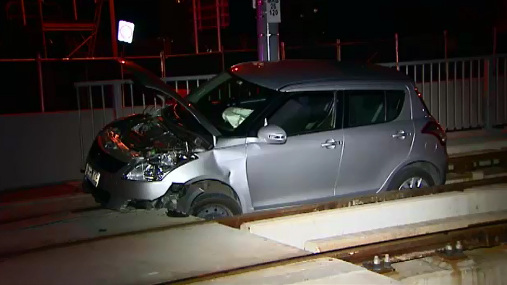 Ms Ironside crashed her car onto tram tracks on October 19. (9NEWS)