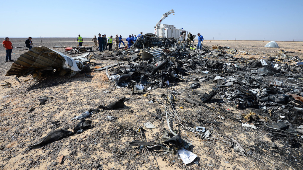 British authorities say the crashed Russian jet may have been brought down by a bomb. (AAP)