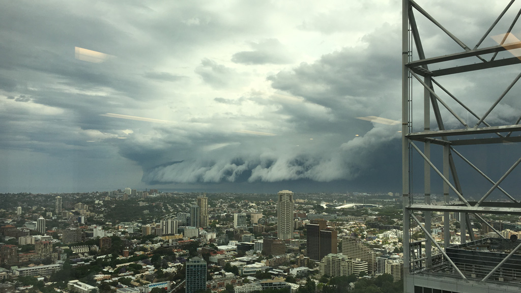 Tim Graham snapped this photo of dark storm clouds rolling in over Sydney. (Supplied)