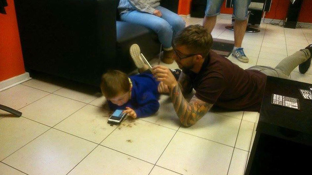 Mason felt most comfortable stretched out on the floor. (Facebook)