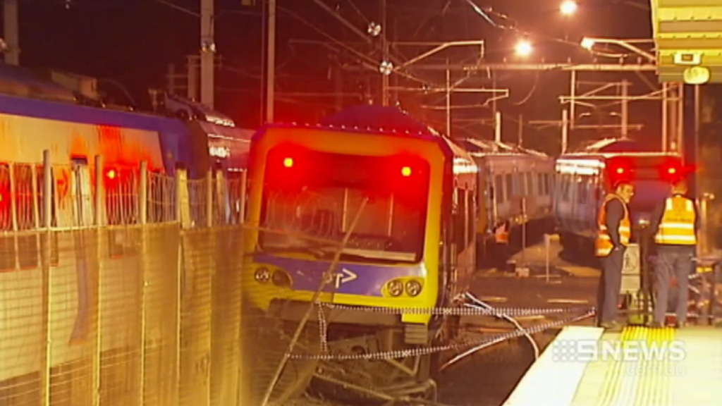 The train crashed about 2am Wednesday. (9NEWS)