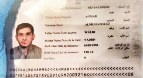 A Syrian passport said to belong to one of the attackers, Ahmed Almuhamed.