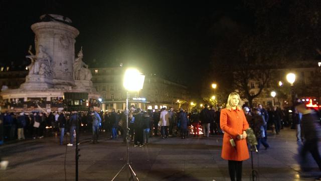Channel 9's Amelia Ballinger broadcasting from Place de la Republique. (Jack Hawke, 9News.com.au)