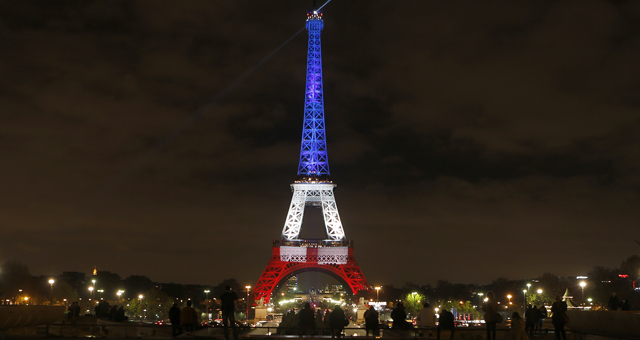<p>The Eiffel Tower in Paris has been lit up in the national colours of blue, white, and red in honour of the victims lost in Friday's terror attacks, the first time the iconic monument has been illuminated in the colours since the tragedy. (AAP)</p>