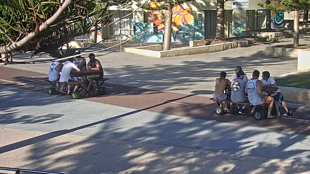 Scarborough Police are currently investigating the use of motorised picnic tables. (Supplied)