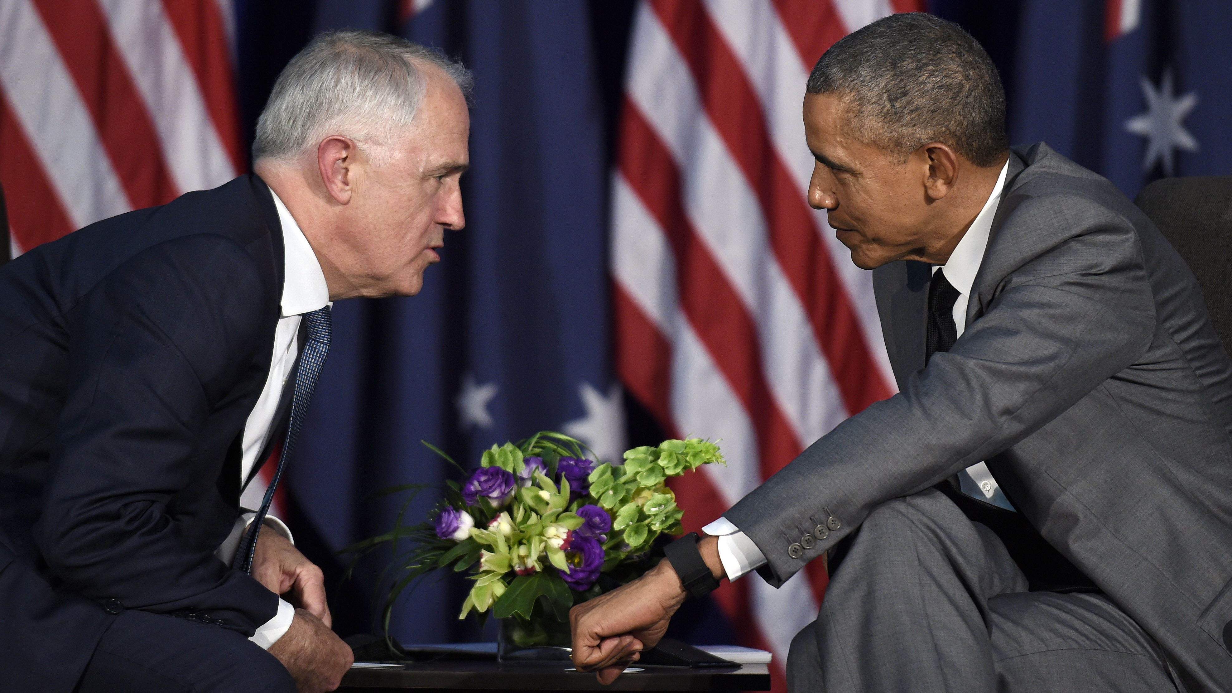 US President Barack Obama talks with Malcolm Turnbull during their meeting in Manila, Philippines.