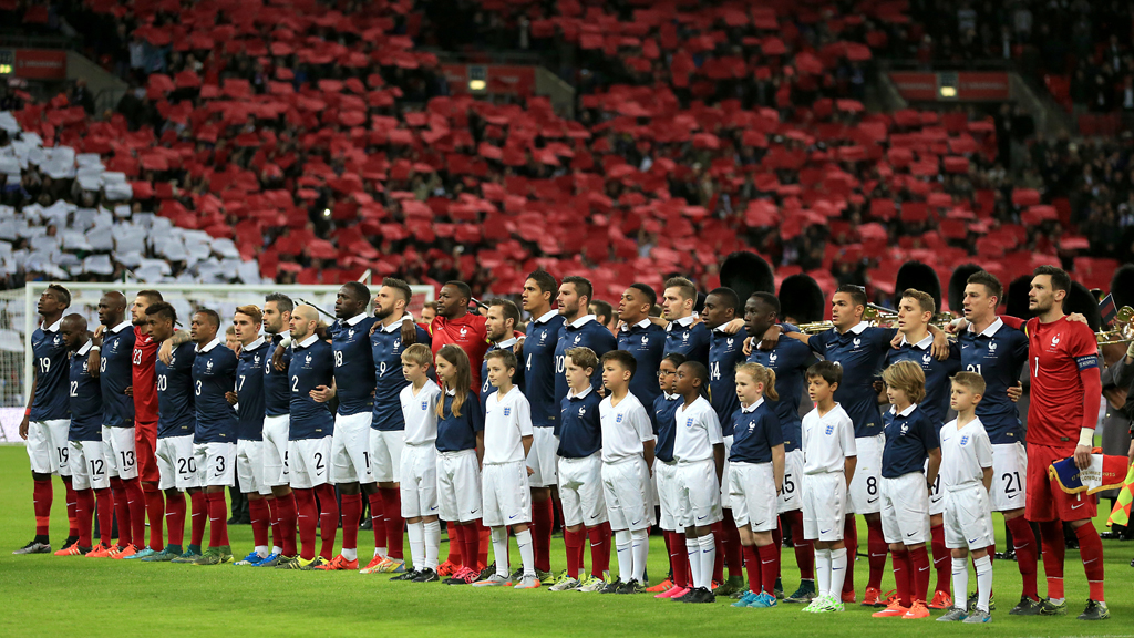 The French team during their national anthem. (AAP)