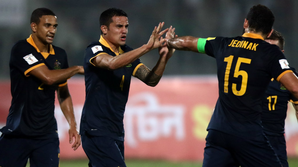 Tim Cahill netted three goals in the comfortable win. (Getty)
