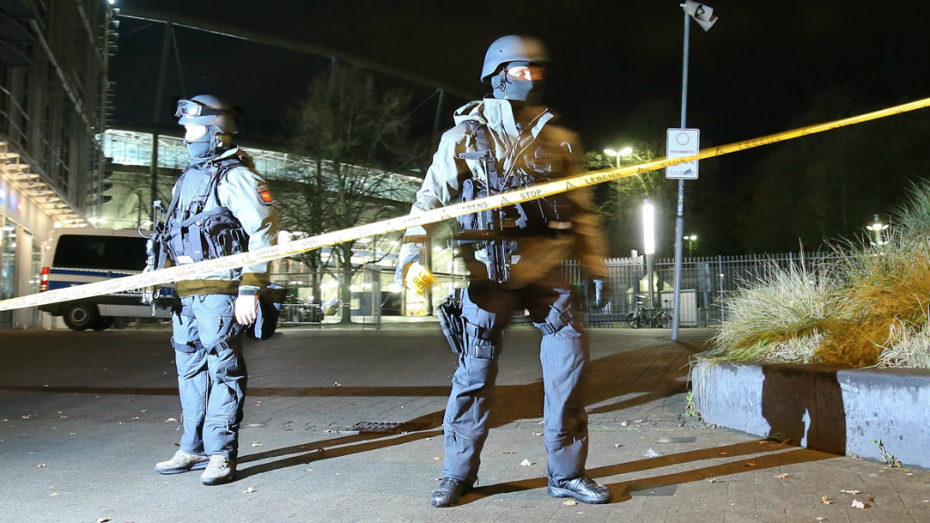 Police outside the stadium in Hannover. (AAP)