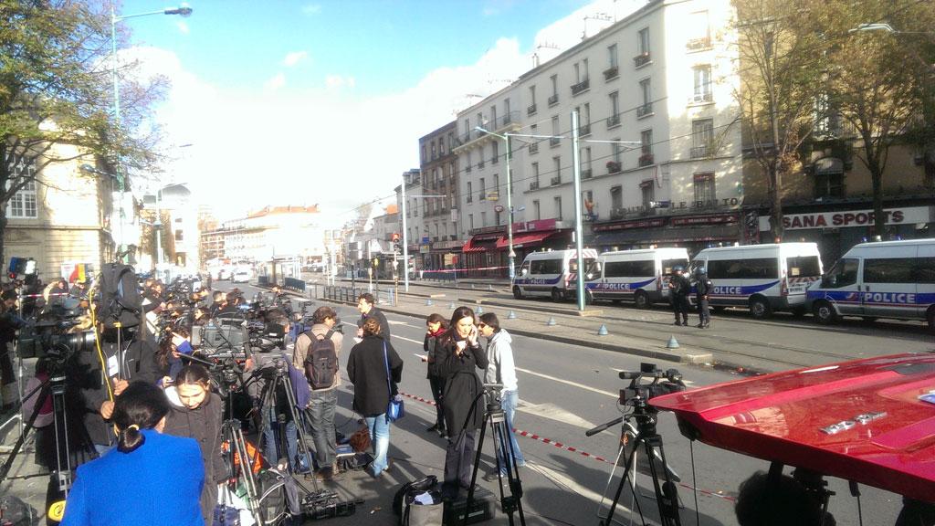 A huge police and media presence remains in Saint-Denis. (Jack Hawke, 9news.com.au)