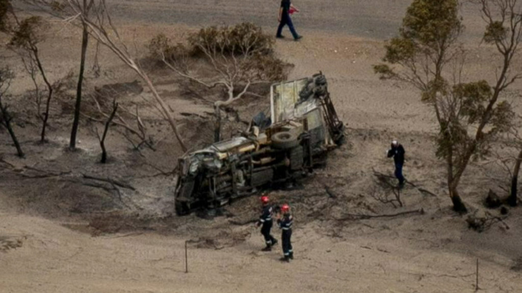 This burned out vehicle is believed to have been used by three backpackers attempting to save a horse.