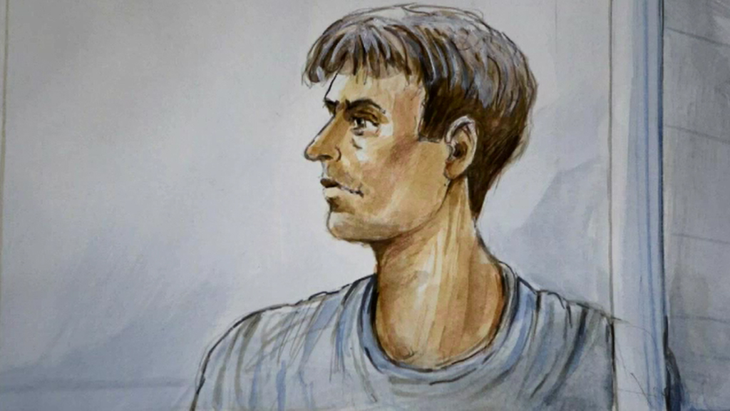 A court sketch of the alleged attacker. (9NEWS)
