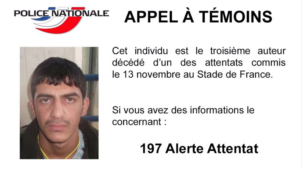 Paris police release photo of third Stade de France suicide bomber