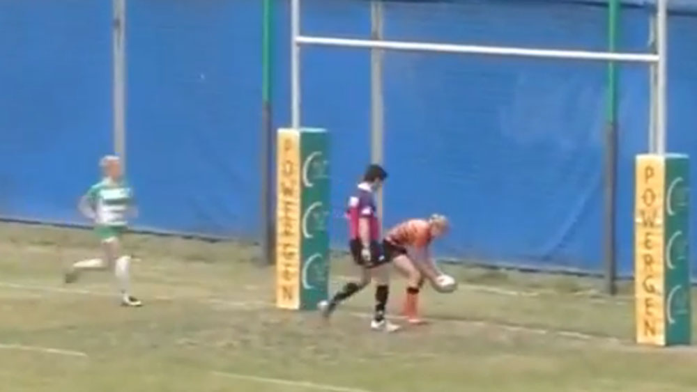 Rugby player red-faced after try blunder