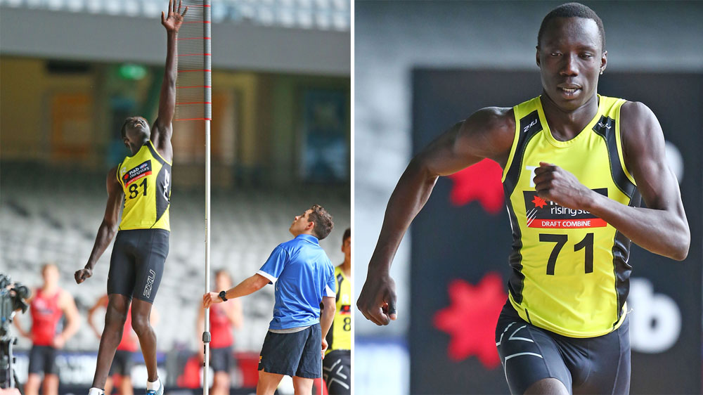 Gach Nyuon (L) and Mabior Chol are two of three new Sudanese-born AFL hopefuls.