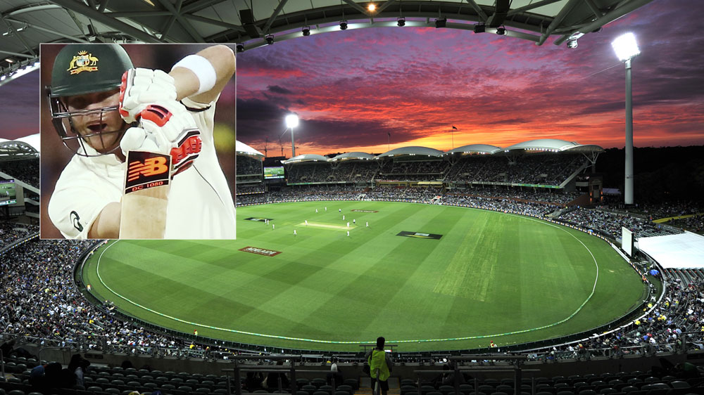 The scene at Adelaide Oval and skipper Steve Smith (inset).