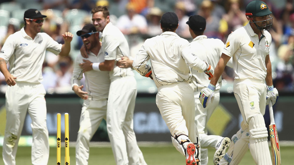 NZ players celebrate the dismissal of Shaun Marsh. (Getty)