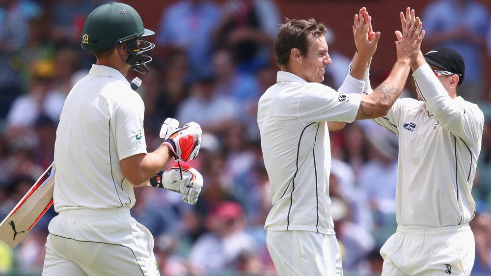 NZ players celebrate Mitch Marsh's wicket. (Getty)