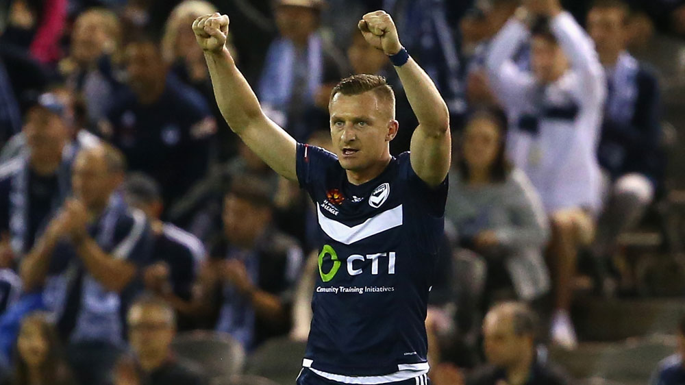 Besart Berisha celebrates Victory's win. (Getty)