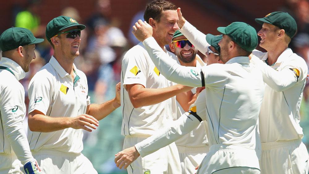 Josh Hazlewood celebrates an early wicket for Australia on day three. (Getty)