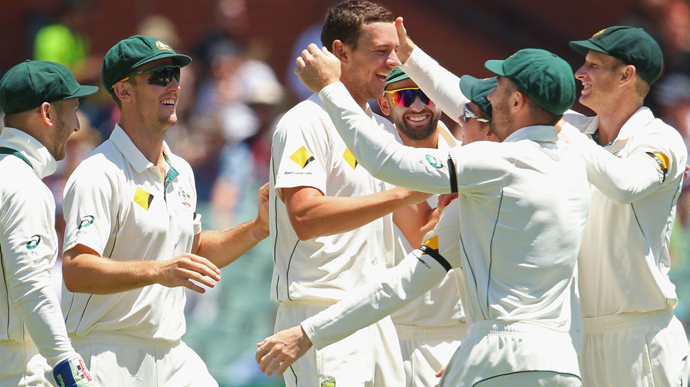 Josh Hazlewood celebrates one of his six second innings wickets. (Getty)