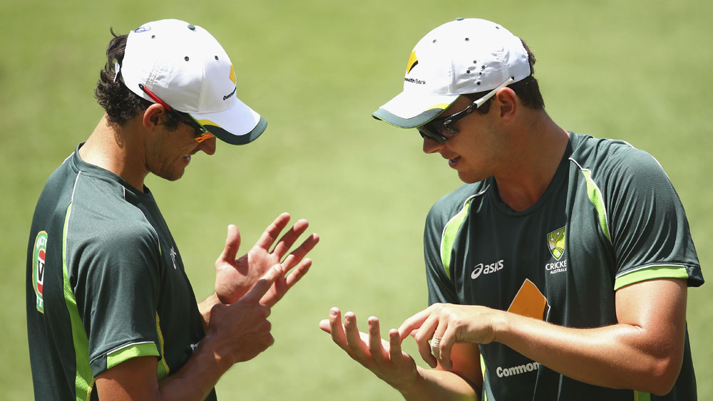 Mitchell Starc (l) and Josh Hazlewood. (Getty)