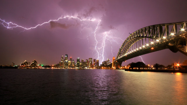 Olia Borzyak snapped this stunning image of lightning near the Harbour Bridge.