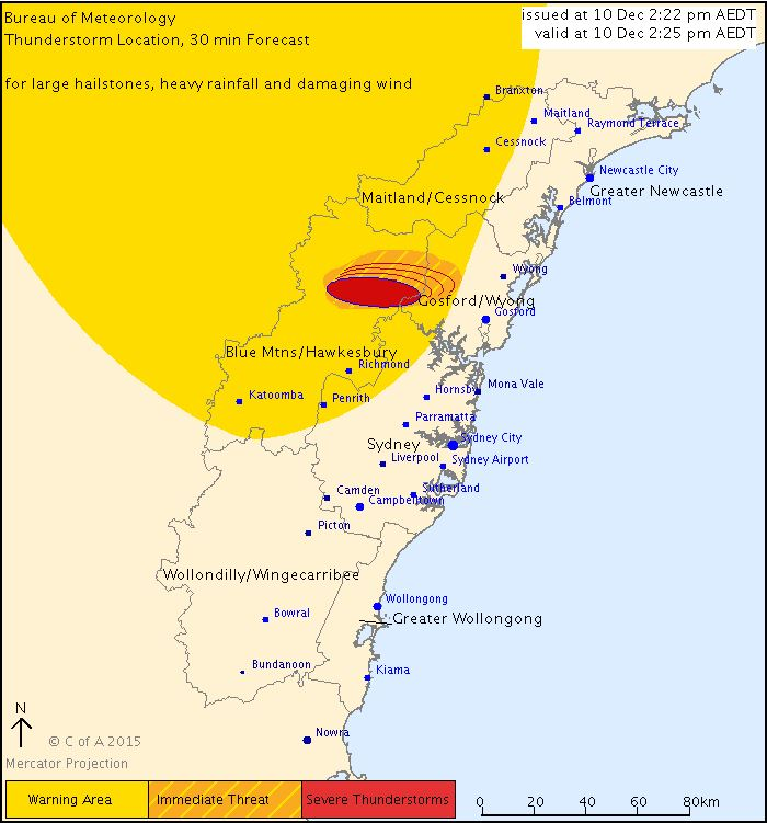 Severe thunderstorm warning issued for Blue Mountains, Hawkesbury, Gosford and Wyong areas
