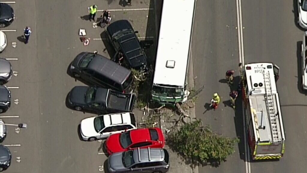 Fire crews at scene of bus into tree crash at Gerrale Street, Cronulla
