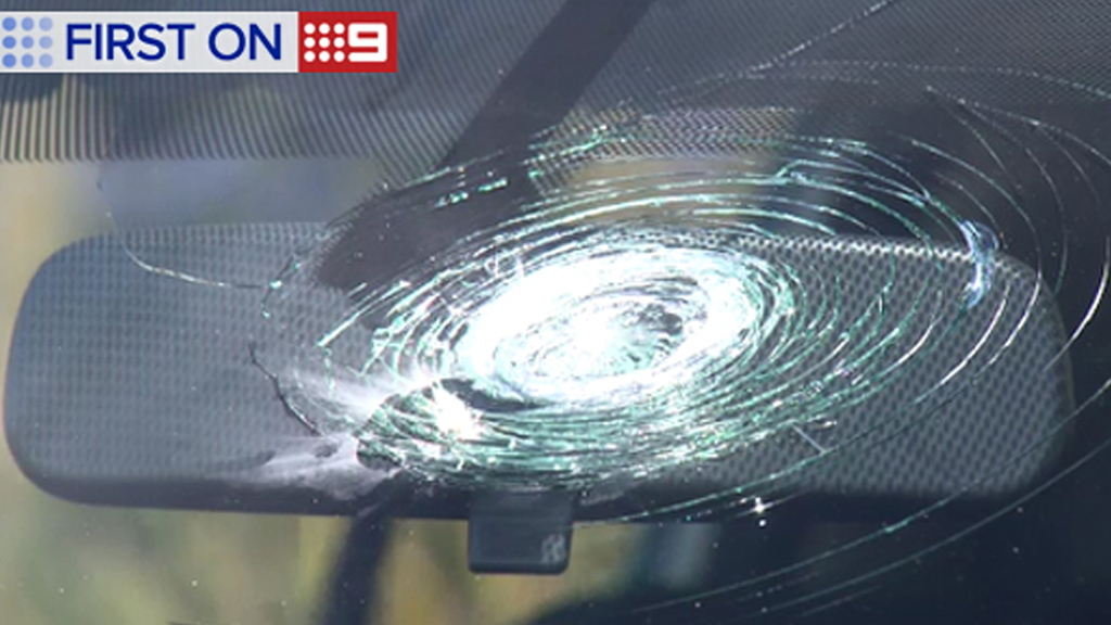 Nine cars were damaged in a rock-throwing on the Southern Expressway. (9NEWS)
