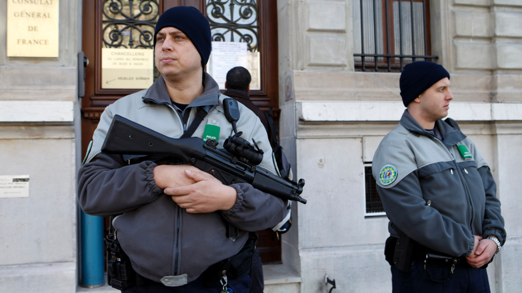 Armed police were deployed to key locations in Switzerland during a heightened terror alert. (AAP)