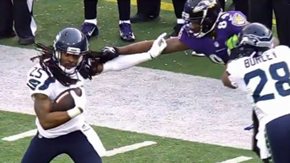 NFL star tangled up in bizarre tackle