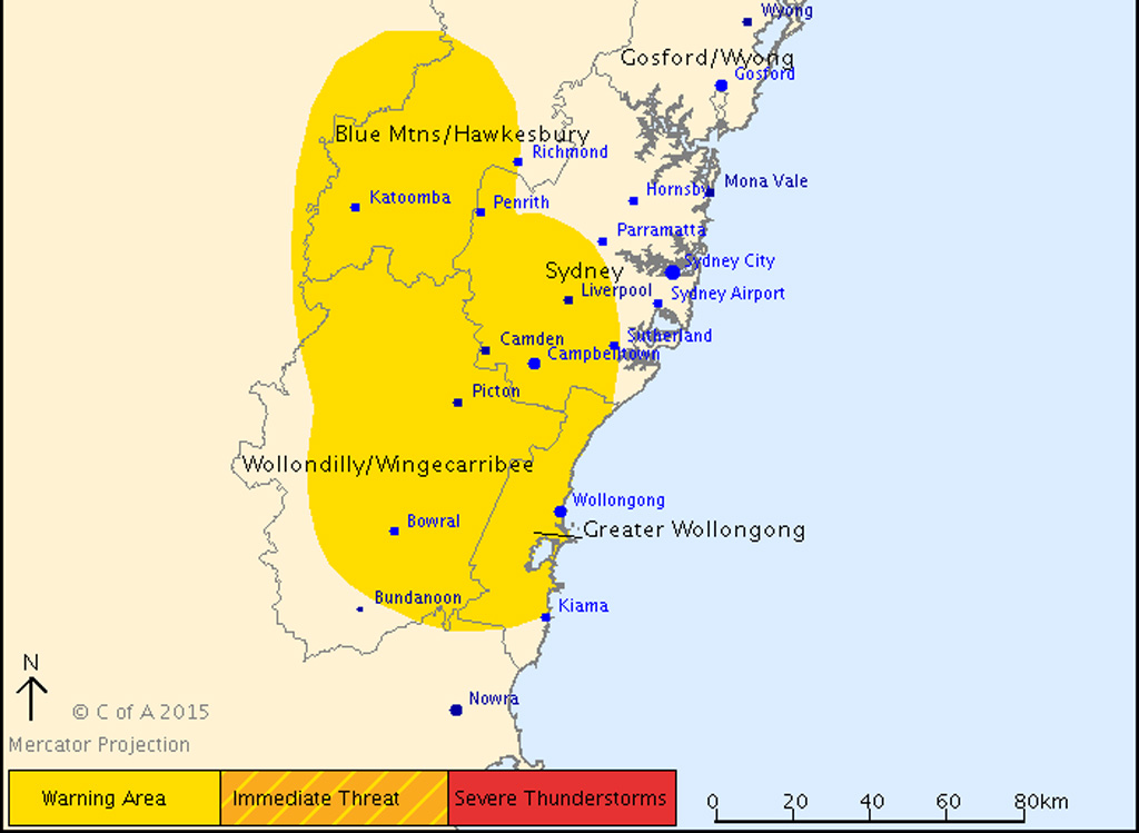 Severe thunderstorm threat eases south-west of Sydney, but warning remains in place