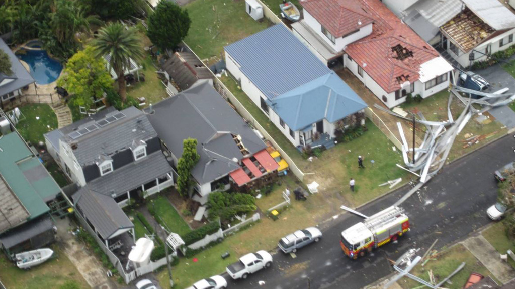 The trail of destruction after damaging winds hammered Kurnell. (Westpac rescue helicopter)