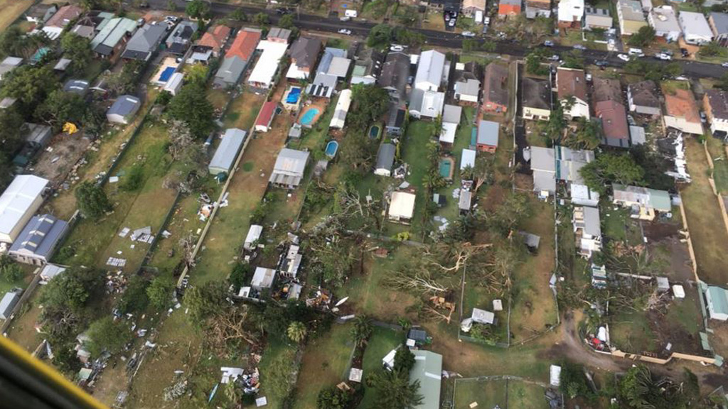 A bird's eye view of the trail of destruction weaved through Kurnell by the tornado. (NSW Fire and Rescue)