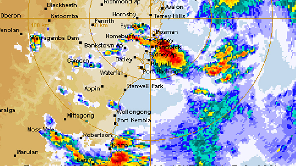 The storm as it approached Sydney. (Bureau of Meteorology)