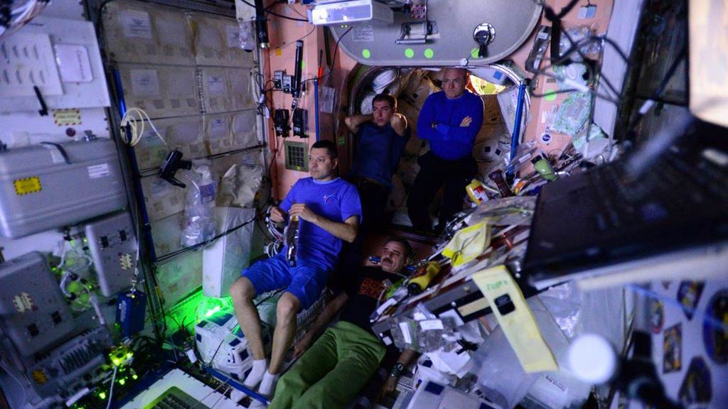 Astronauts watch 'The Martian' movie at the space station earlier this year. (Twitter/@StationCDRKelly)
