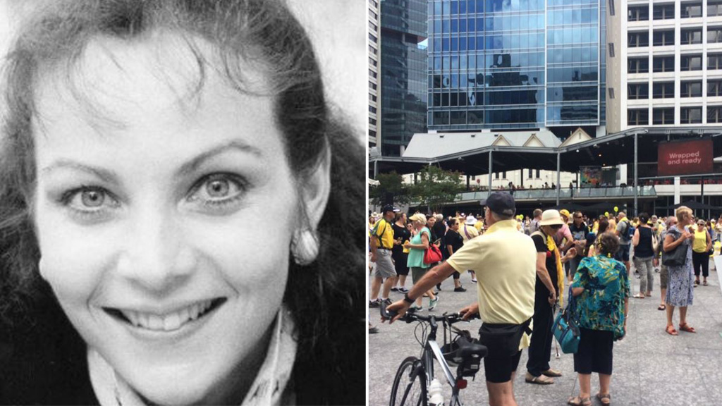 Queenslanders dressed in yellow to attend the rally in King George Square. (9NEWS)