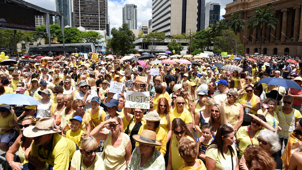 Thousands of rallied to protest the High Court's decision to downgrade Baden-Clay's conviction. (AAP)