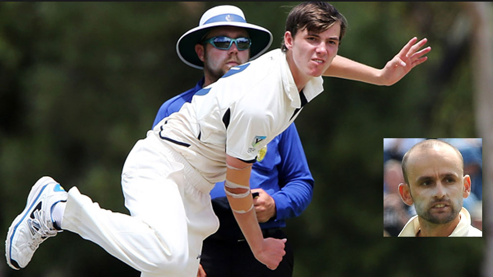 Sam Grimwade and (inset) Nathan Lyon. (Supplied and AAP)