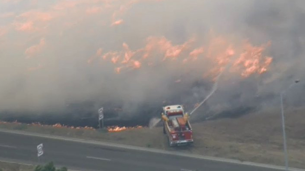 Firefighters have responded to a grass fire at Epping. (9NEWS)