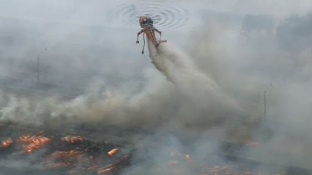 Firefighters have responded to a grass fire at Epping. (9NEWS / Julian Price)